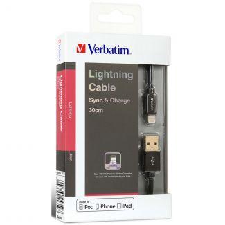 Verbatim - Sync & Charge 30cm Step-up Lightning 充電傳輸線 (黑色)
