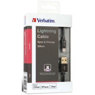 Verbatim - Sync & Charge 200cm Step-up Lightning 充電傳輸線 (黑色)