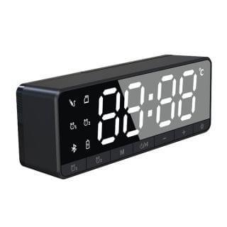 TSK - 迷你便攜鏡面鬧鐘FM收音無線藍牙插卡喇叭 (黑色)