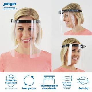 英國 Janger - 頭箍式雙面專業護目防飛沬防護面罩 (4件裝) (黑色)