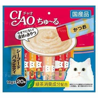 CIAO - 綠茶雜錦海鮮肉泥棒 (14g x 20本)