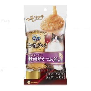 Unicharm - 銀匙三星級美食 綜合顆粒營養肉泥 - 枕崎産鰹魚 (6g x 8本)