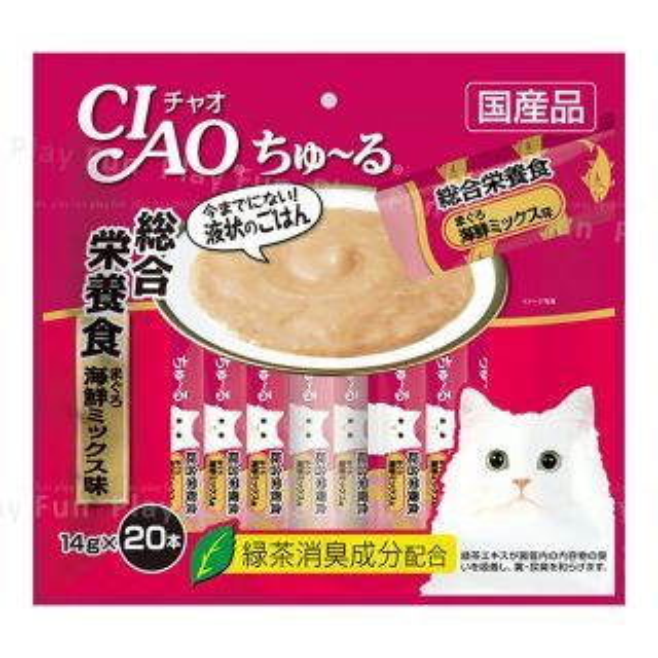 CIAO - 綜合營養食品 - 金槍魚海鮮混合味肉泥棒 (14g x 20本) (桃紅色)