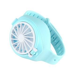 JTSK Japan - 迷你創意USB充電 三檔靜音兒童風扇手錶 (藍色)