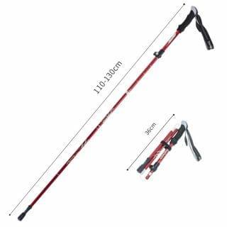 TANERDD - 鋁合金折疊伸縮行山杖5節拐杖 (紅色)
