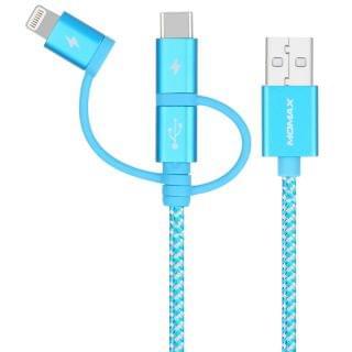 MOMAX - One Link 3-in-1 Micro/Lightning/TypeC1M連接線 (藍)