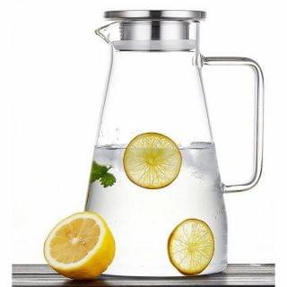 HK Mart - 高硼硅玻璃耐熱防爆果汁水壺 (單個裝) (水樽/水瓶) (1.5L)