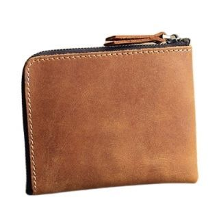 Hakken - 真皮零錢皮夾L型拉鍊 皮革夾層 短夾 復古 (紅棕色)