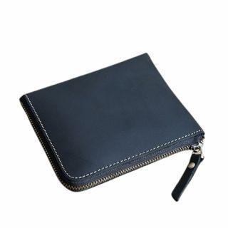 Hakken - 真皮零錢皮夾L型拉鍊 皮革夾層 短夾 復古 (藍色)