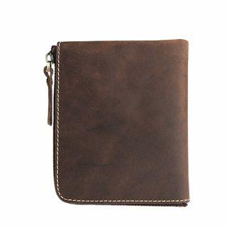 Hakken - 真皮零錢皮夾L型拉鍊 皮革夾層 短夾 復古 (深棕色)