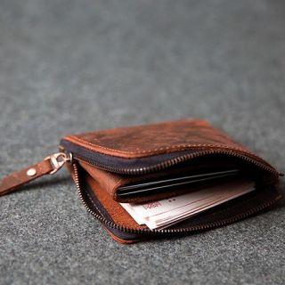 Hakken - 真皮零錢皮夾L型拉鍊 皮革夾層 短夾 復古 (變色紅棕色)