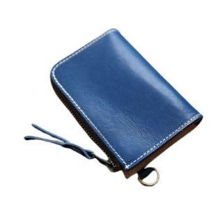 Hakken - 意大利手工頭層牛皮 真皮 零錢皮夾L型短夾 復古 哈雷植鞣皮 (藍色)