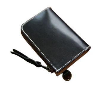 Hakken - 意大利手工頭層牛皮 真皮 零錢皮夾L型短夾 復古 哈雷植鞣皮 (黑色)