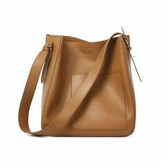 Hakken - 側背水桶外小袋 真皮包 側背包 皮革 單肩包 牛皮 (棕色)