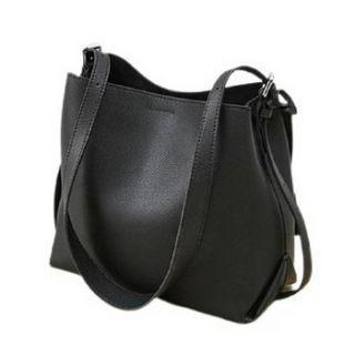 Hakken - 水桶真皮包 側背包 手提包 皮革 單肩包 牛皮 (黑色)