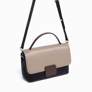 Hakken - 時尚拼色真皮包 側背包 手提包 皮革 單肩包 牛皮 (灰拼黑色)