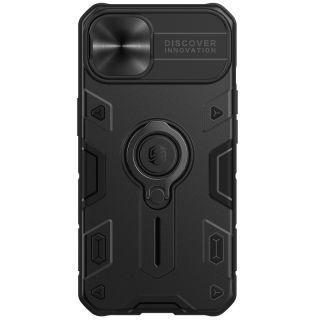 "Nillkin - iPhone 13 6.1"" 鏡頭滑蓋保護指環支架四角氣囊升級防摔手機保護殼黑犀牛系列  (黑色)"