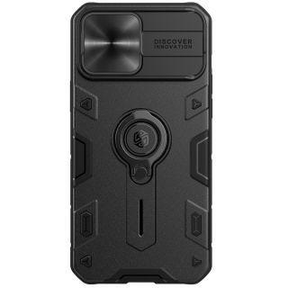 "Nillkin - iPhone 13 Pro Max 6.7"" 鏡頭滑蓋保護指環支架四角氣囊升級防摔手機保護殼黑犀牛系列  (黑色)"