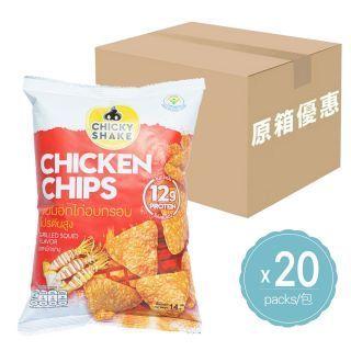 Chicky Shake - (原箱優惠) 零脂肪雞胸肉脆片 (燒魷魚味) (14g x 20包)